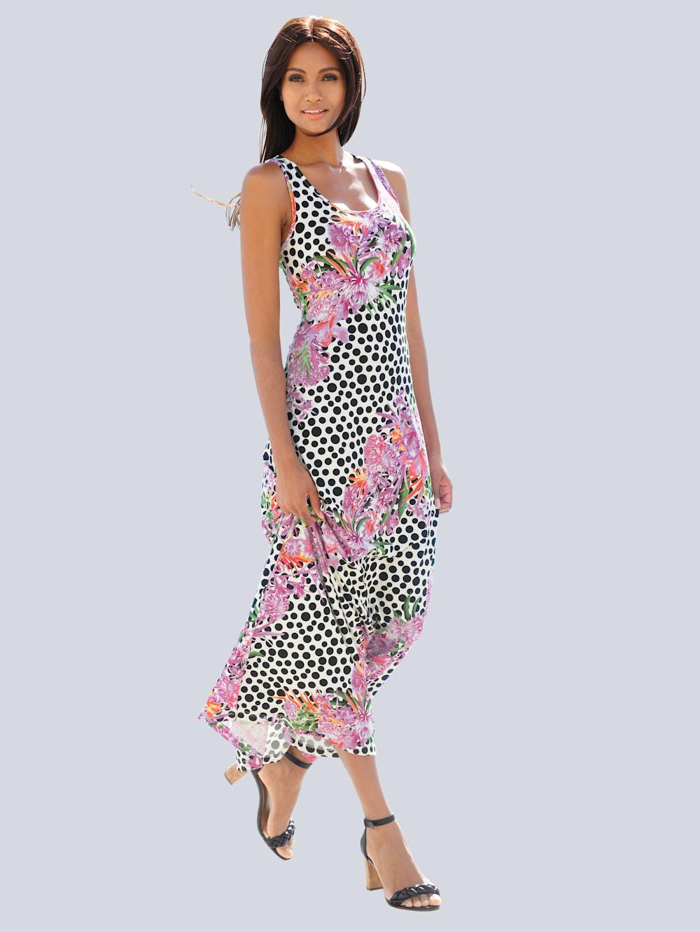 alba moda kleid im punkte-blumendessin | alba moda