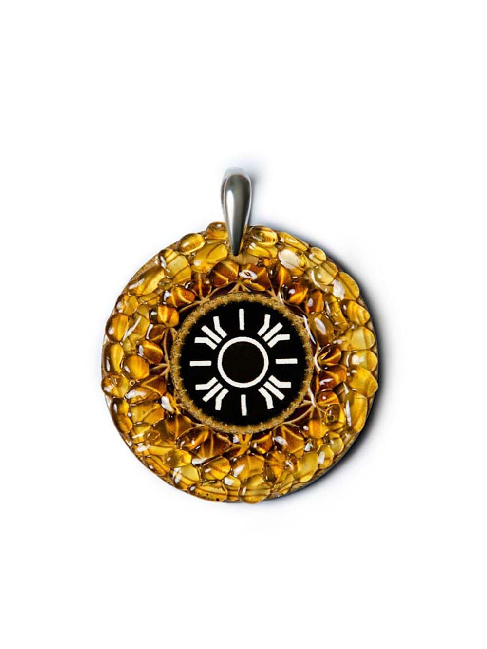 1001 Diamonds Anhänger Sonne 925 Sterling Silber Bernstein Amulett Talisman Licht Glück und Erfüllung   Klingel