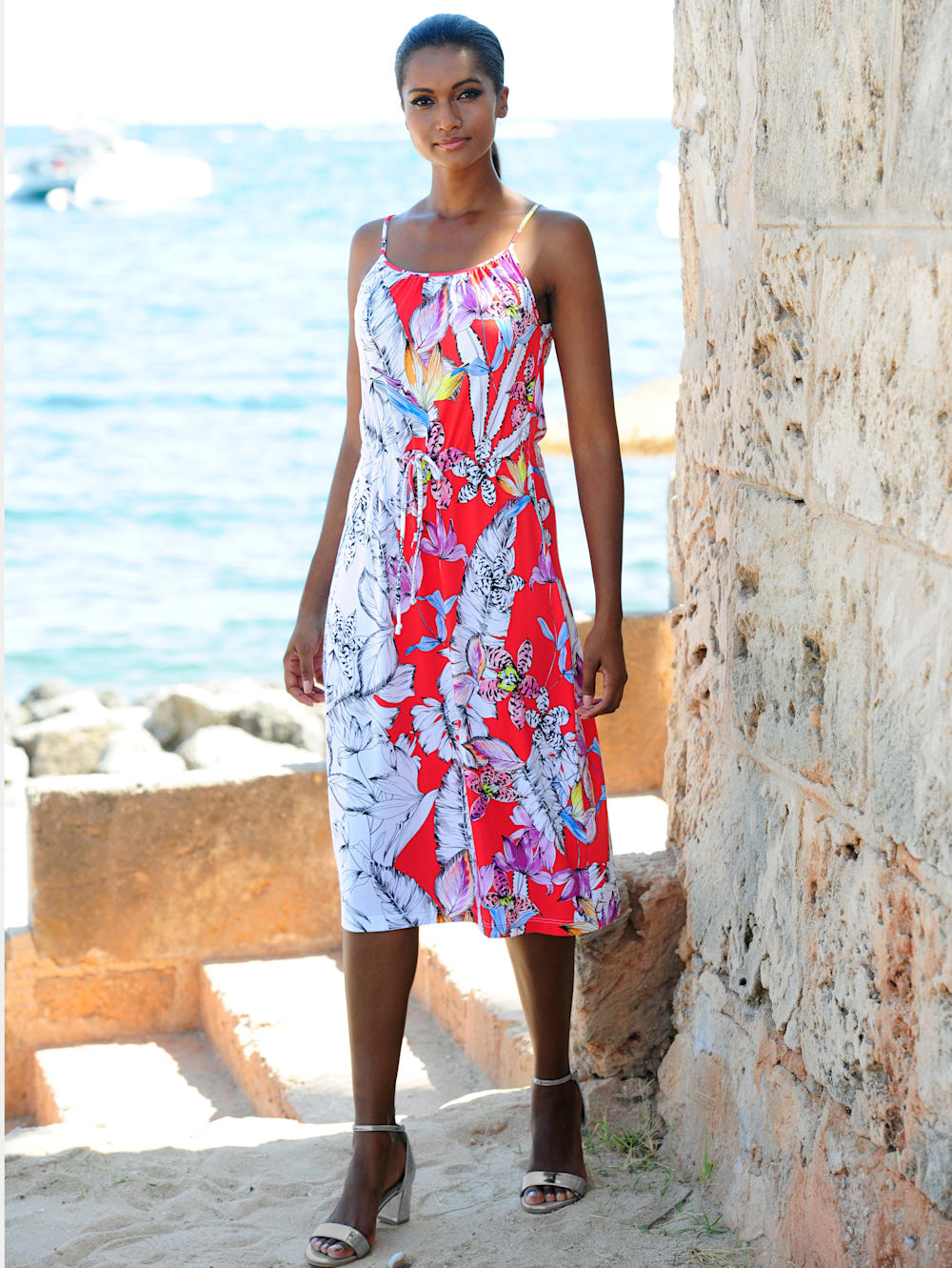 alba moda strandkleid mit spaghettiträgern | alba moda