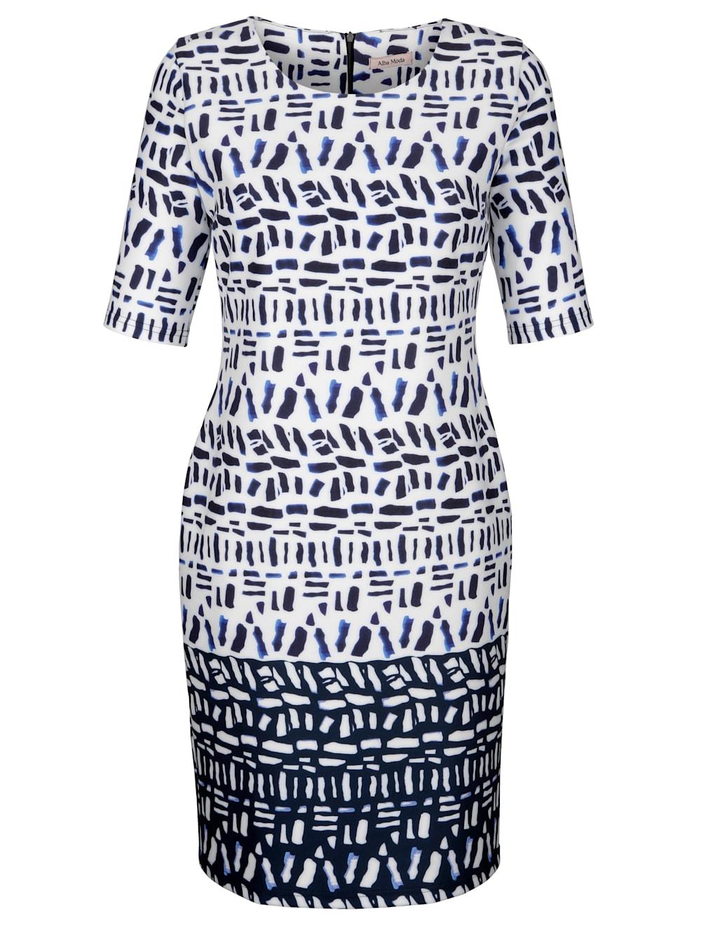 alba moda kleid mit grafischem dessin   klingel