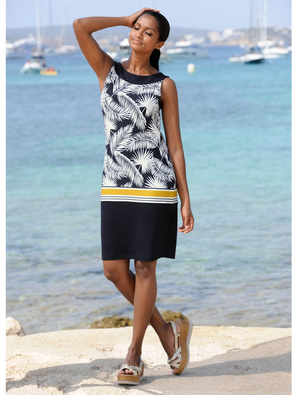 alba moda strandkleid mit blätterdruck | klingel