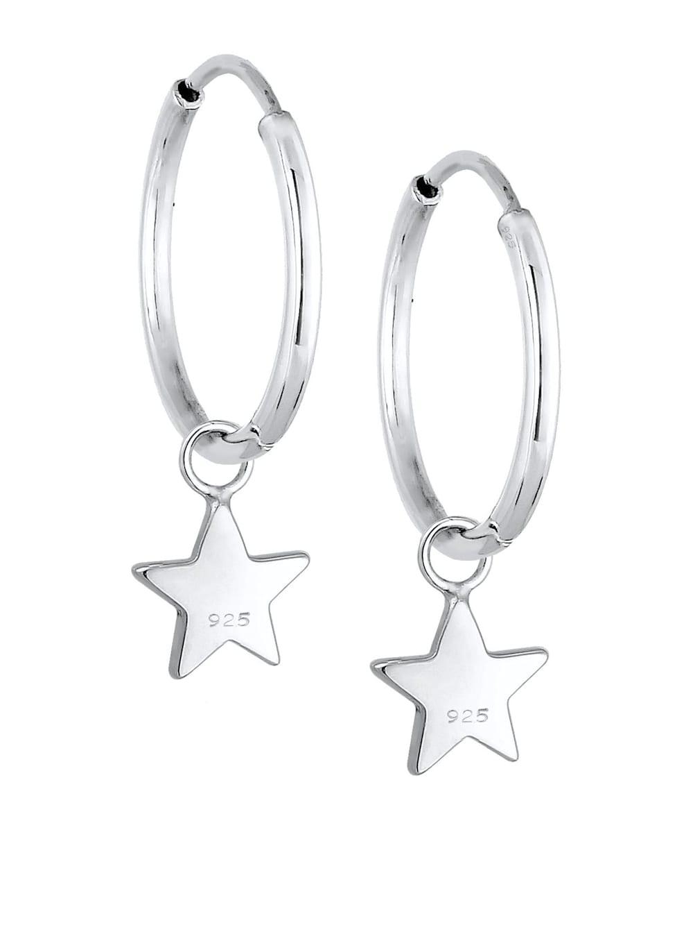 Elli Elli Ohrringe Creolen Hänger Sterne Astro 925er Sterling Silber | Klingel