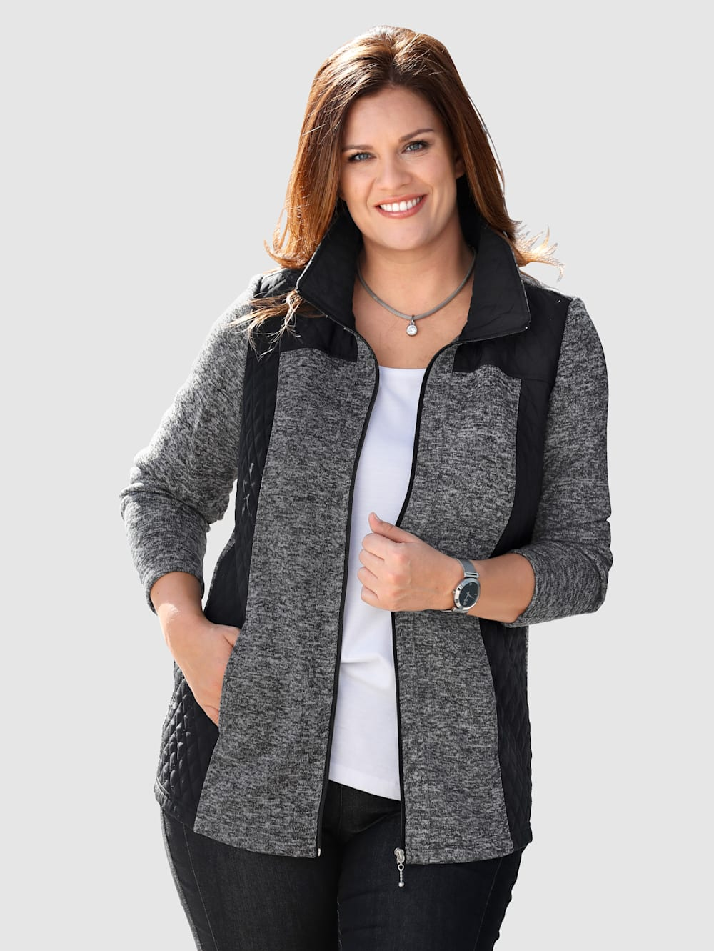m.collection jacke im tollen materialmix mit fleece