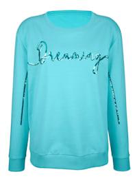 Sweatshirt met opschrift van pailletten