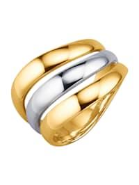 Bague en or jaune et or blanc 750
