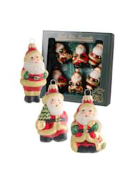 Christbaumschmuck-Set 'Mini-Weihnachtsmänner'