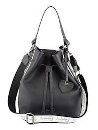 Handbag with a removable logo pendant