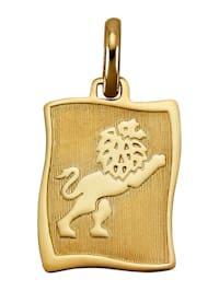 """Pendentif avec pierre de naissance """"Lion"""" en or jaune 585"""