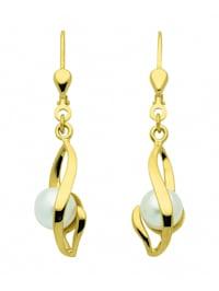 Damen Goldschmuck 333 Gold Ohrringe / Ohrhänger mit Süßwasser Zuchtperle
