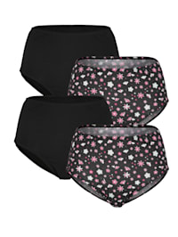 Taillenslips im 4er-Pack mit floralem Druckdessin