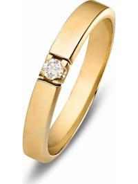 CHRIST Damen-Damenring 375er Gelbgold 1 Diamant