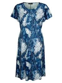 Jerseyklänning med somrigt mönster
