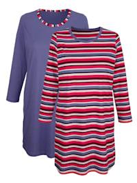 Nachthemden per 2 stuks met ingebreide strepen