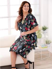 Plissee-Kleid mit frischem Blütendruck-Muster rundum