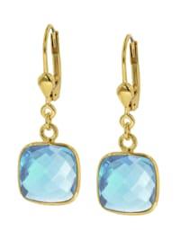 51181 Damen-Ohrringe Silber vergoldet Ohrhänger mit hellblauem Quarz