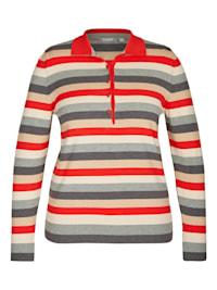 Pullover mit Polokragen und Ringelmuster