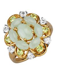 Damesring met jade en peridot