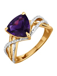 Damesring met amethist en diamanten