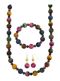 3-delige sieradenset met multicolor tijgerogen (beh.)