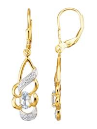 Örhängen med akvamarin och diamant