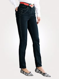 Jeans with tonal embroidery