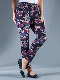 Pantalon à motif fleuri