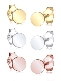 Ohrringe 3Er Set Kreis Geo Basic Tricolor 925 Silber