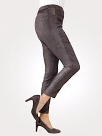 Pantalon facile à enfiler d'aspect cuir velours