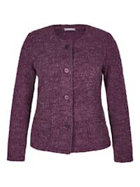 Jacke mit meliertem Muster und aufgesetzten Taschen