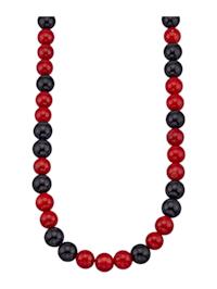 Halskette mit Onyx und Bambus-Koralle