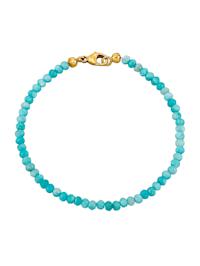 Bracelet d'amazonites avec fermoir mousqueton en argent 925, doré