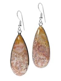 Koralle fossil Anhänger Fisch 925 Silber braun