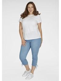 Stretch-Jeans mit Beinschnürung