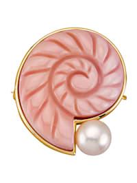 Brosch med snäckformad, rosa conchpärla