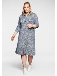 Jerseykleid in A-Linie, im Hemdblusenstil
