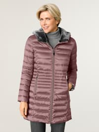Lightweight down jacket with faux fur