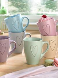 6tlg. Kaffeebecher-Set 'Herz'