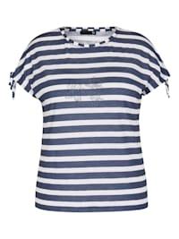 Shirt mit geringeltem Muster und Bindebändern