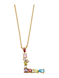Halsband med bokstavshänge – L med cubic zirconia i flera olika färger