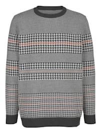 Pullover mit modischem Hahnentritt-Muster