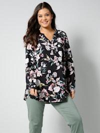 Tunika-Bluse mit Blumenmuster