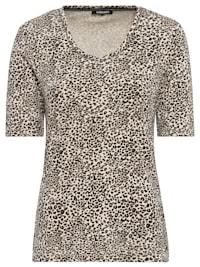V-Shirt mit Leopardenmuster