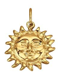 Hänge i form av en glad sol av guld 14 k