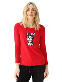 Shirt met kattenmotief van pailletten