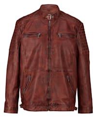 Kožená bunda z barvené jehněčí nappa kůže