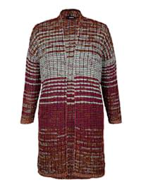 Lang strikkejakke med stripemønster