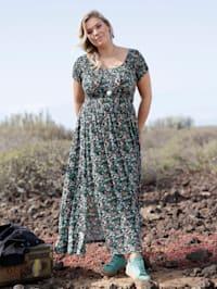 Jersey jurk met gesmokt, elastisch bovendeel