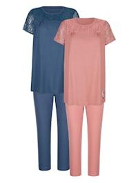Pyjamas i 2-pack – vacker detalj