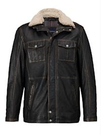Leren jas in lichte used look