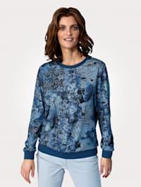 Tričko s kvetinovou potlačou v džínsovom vzhľade